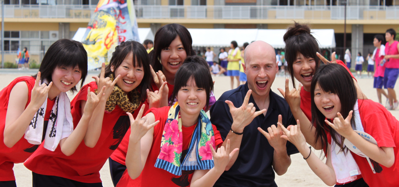 Enjoying a school festival with my students in Japan